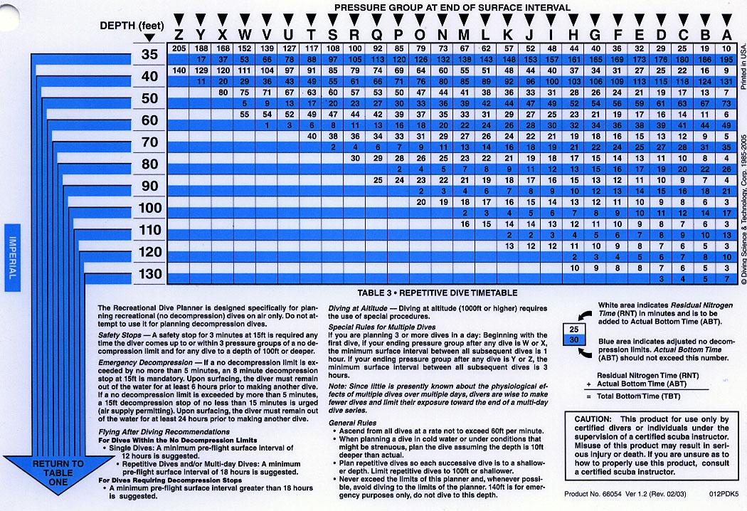 Scuba Diver Info Dive Tables Explained